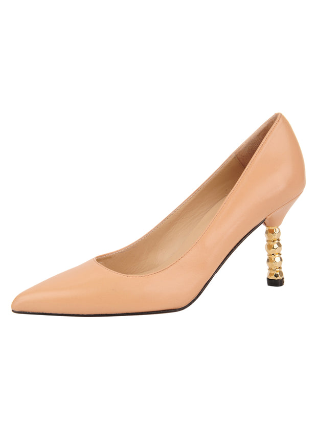 Womens Nude Leather Nova Pointed Toe High Heel Pump