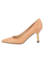 Womens Nude Leather Nova Pointed Toe High Heel Pump 6
