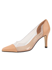 Womens Nude Leather Punta Pointed Toe Vinyl Pump