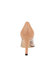 Womens Nude Leather Punta Pointed Toe Vinyl Pump 2