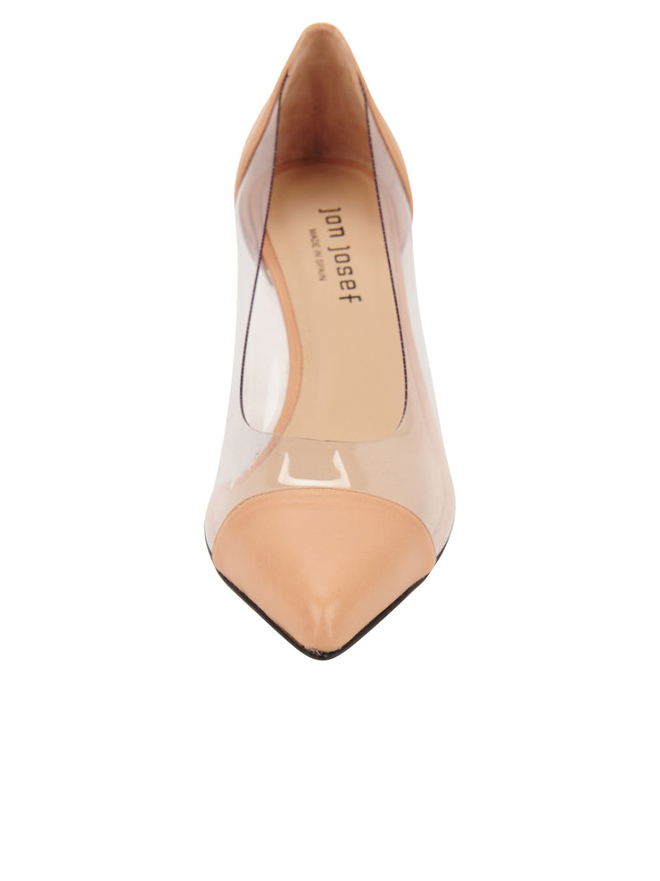 Womens Nude Leather Punta Pointed Toe Vinyl Pump 4