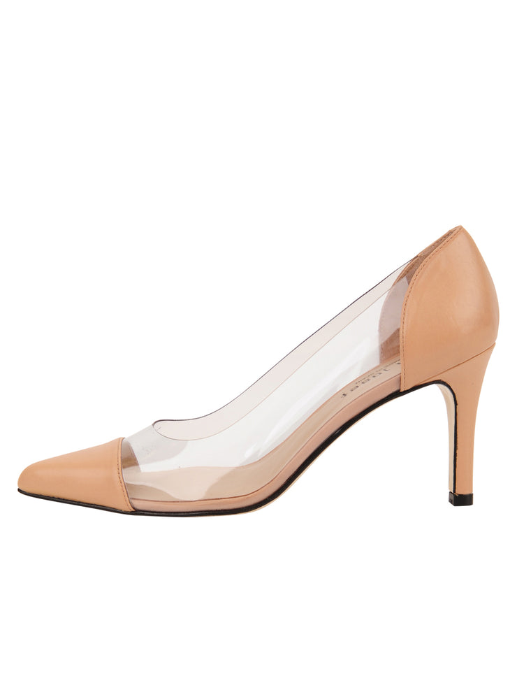 Womens Nude Leather Punta Pointed Toe Vinyl Pump 6