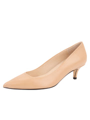Womens Nude Leather Kitten Heel