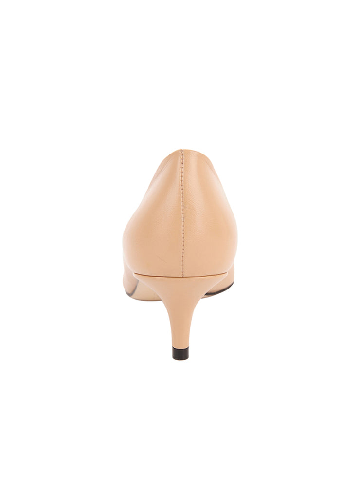 Womens Nude Leather Kitten Heel 4