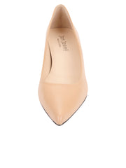Womens Nude Leather Kitten Heel 5