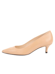 Womens Nude Leather Kitten Heel 6