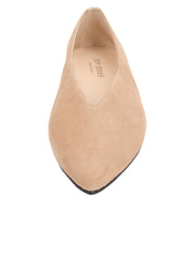 Womens Nude Suede Pointed Toe Flat 4