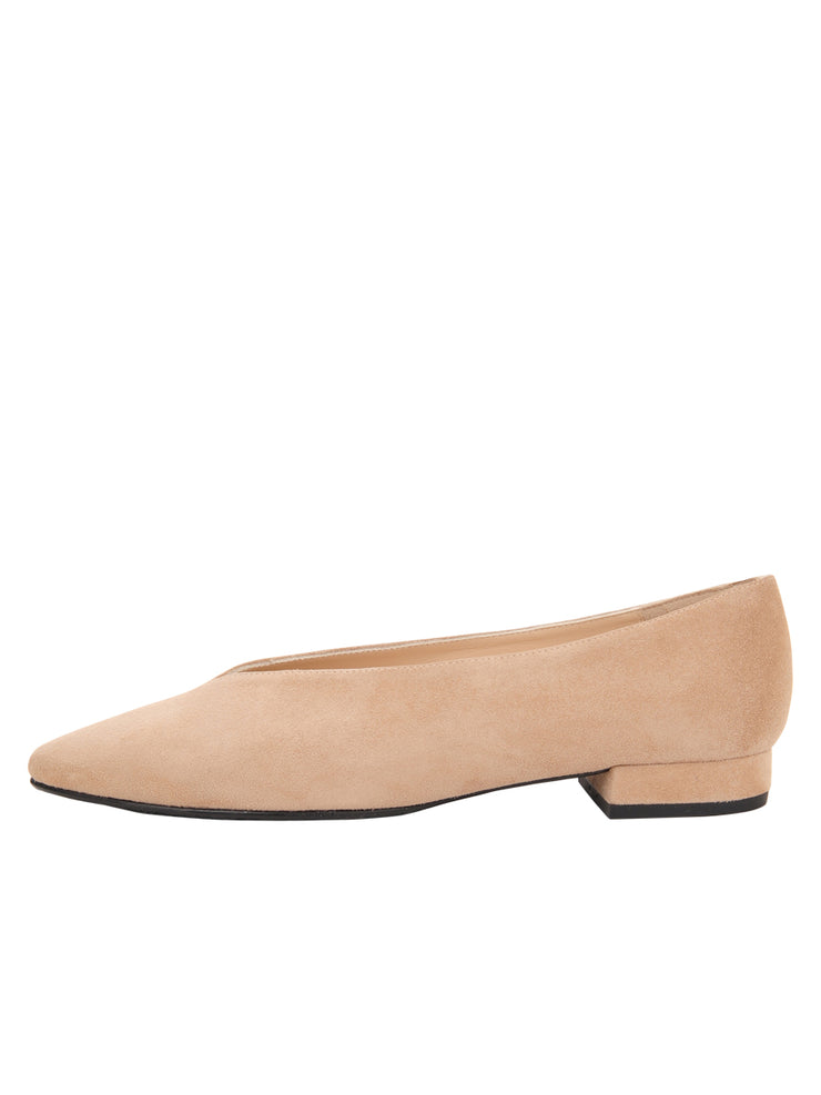 Womens Nude Suede Pointed Toe Flat 6