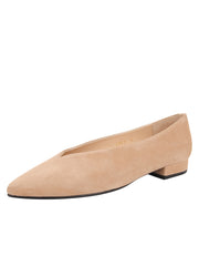 Womens Nude Suede Pointed Toe Flat
