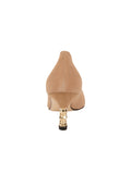 Womens Nude Suede Cassandra Pointed Toe Low Heel Pump 2