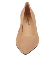 Womens Nude Suede Cassandra Pointed Toe Low Heel Pump 4