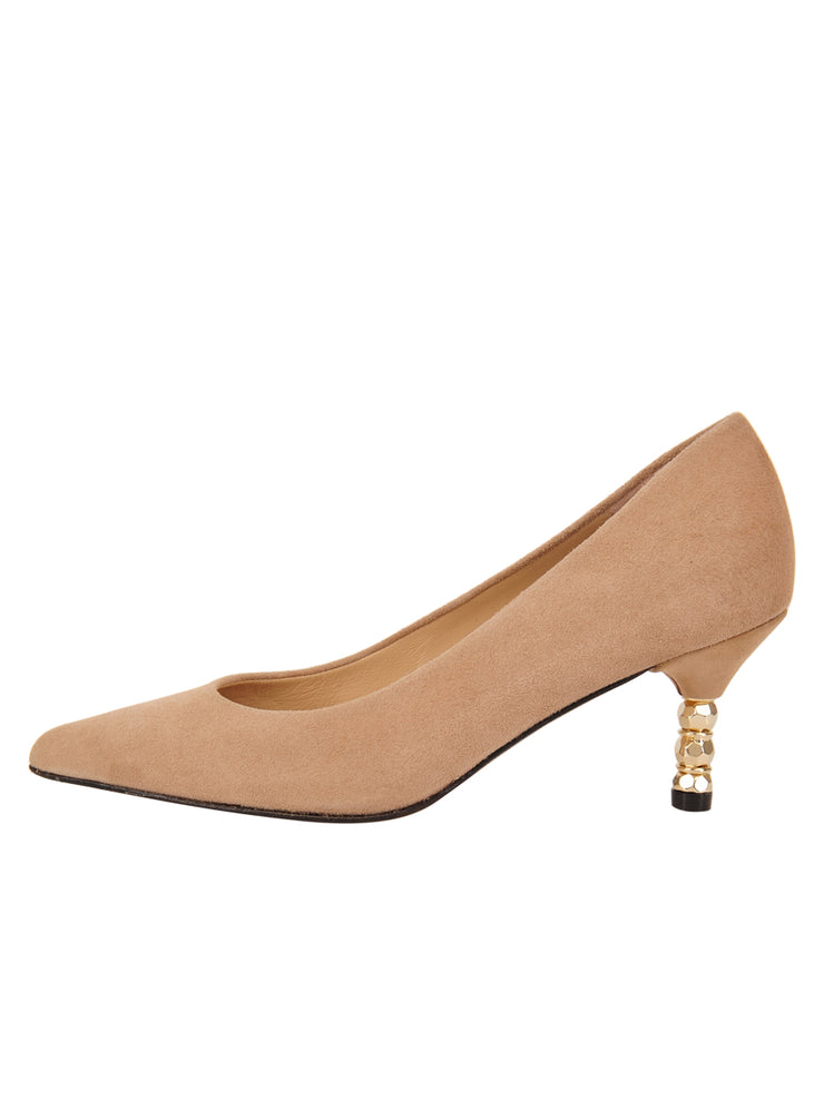 Womens Nude Suede Cassandra Pointed Toe Low Heel Pump 6