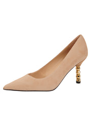 Womens Nude Suede Nova Pointed Toe High Heel Pump
