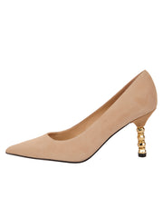 Womens Nude Suede Nova Pointed Toe High Heel Pump 6