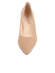 Womens Nude Suede High Heel Pump 4