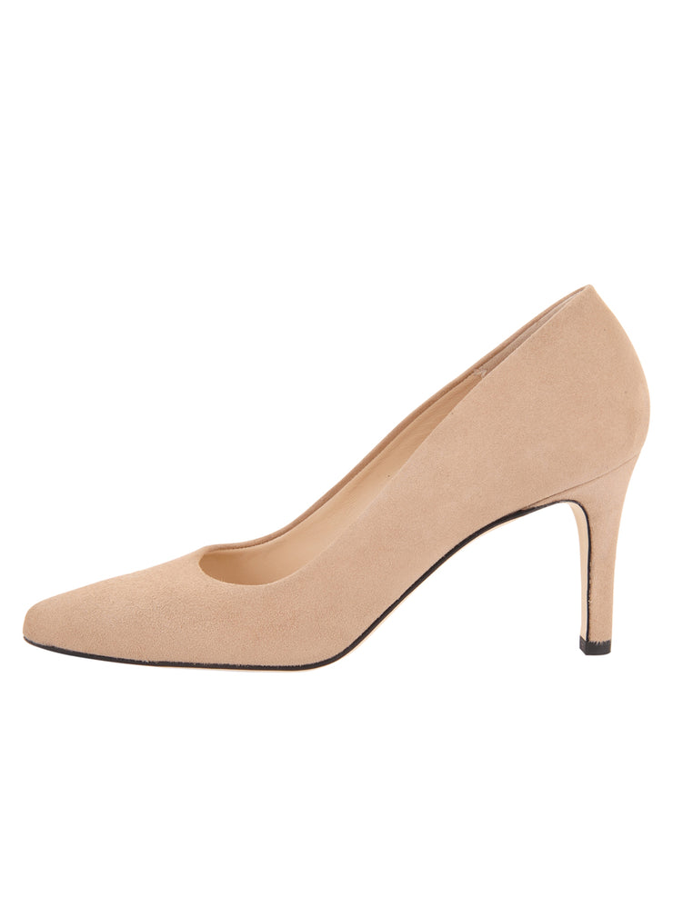 Womens Nude Suede High Heel Pump 6