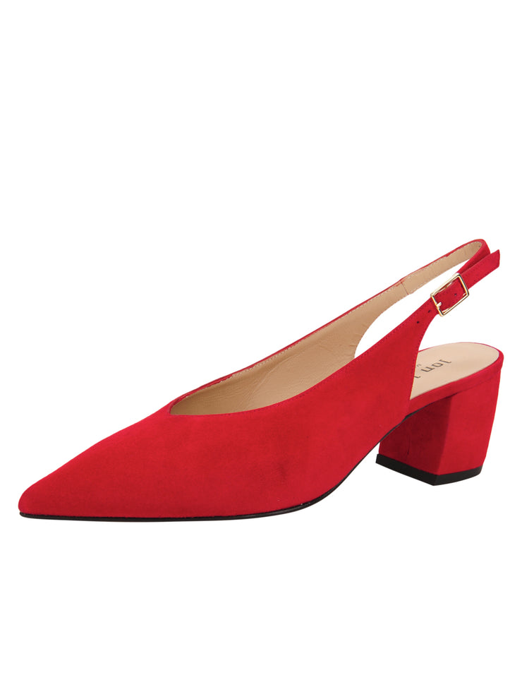 Womens Red Suede Wanda Slingback Pump