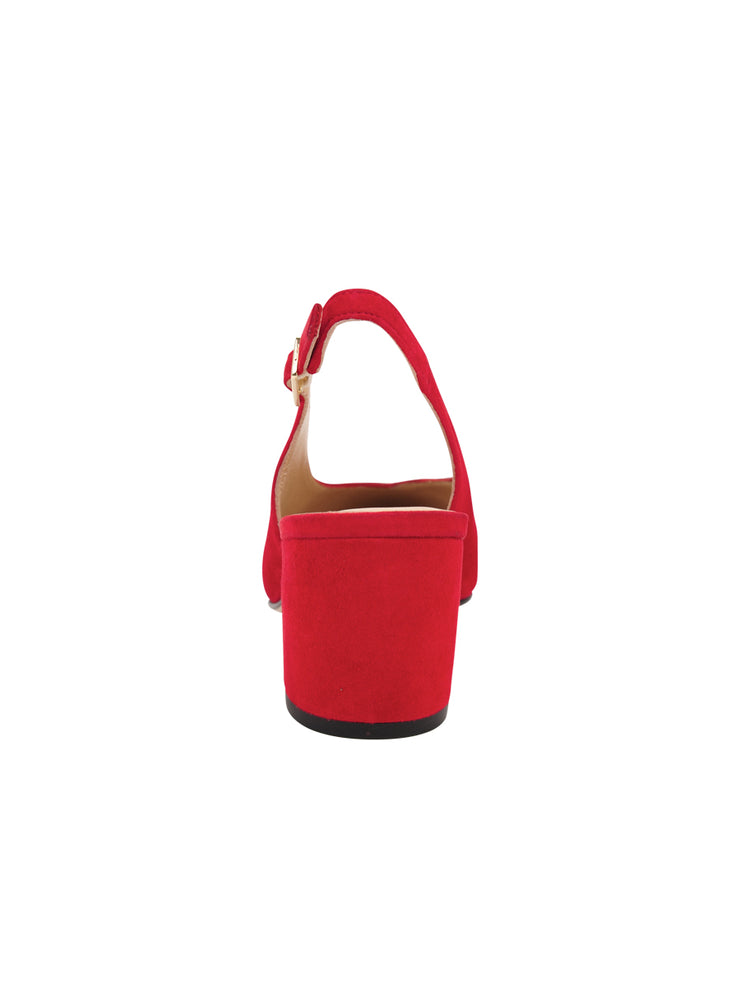 Womens Red Suede Wanda Slingback Pump 2