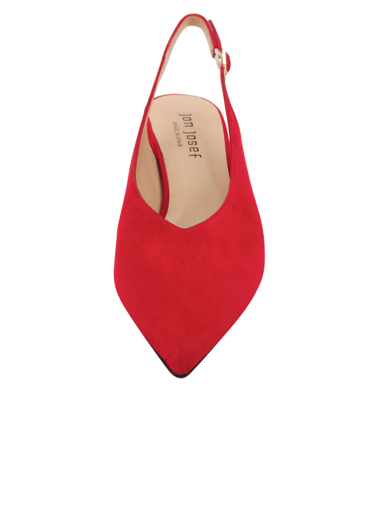 Womens Red Suede Wanda Slingback Pump 4