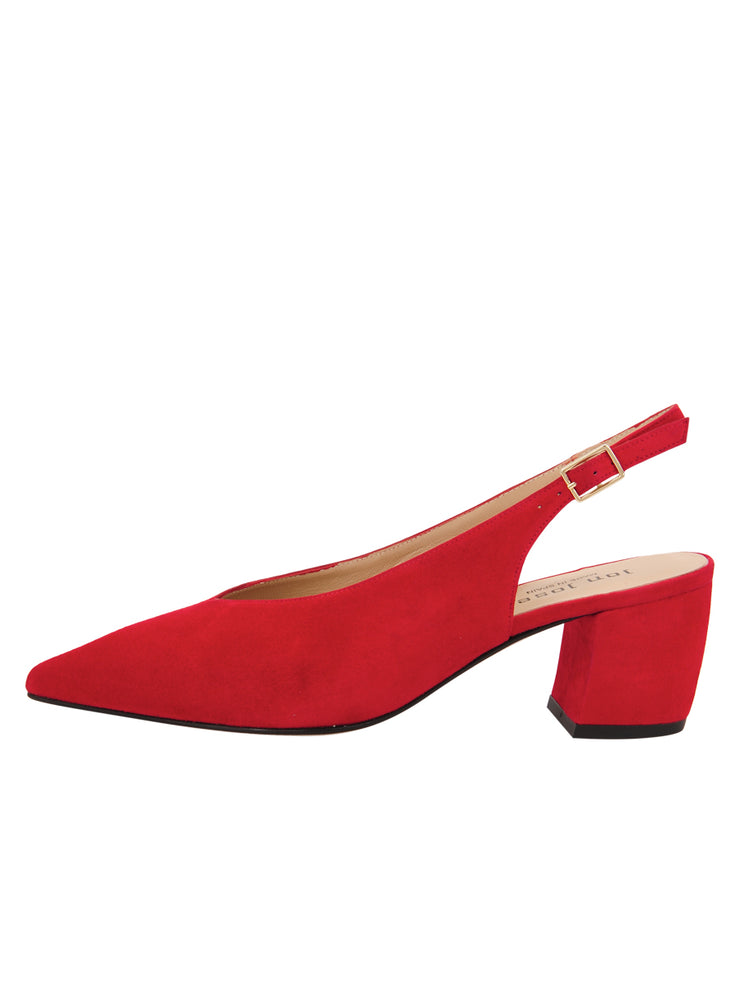 Womens Red Suede Wanda Slingback Pump 6