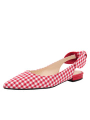 Womens Red White Combo Marni Pointed Toe Gingham Flat
