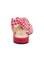 Womens Red White Combo Marni Pointed Toe Gingham Flat 4