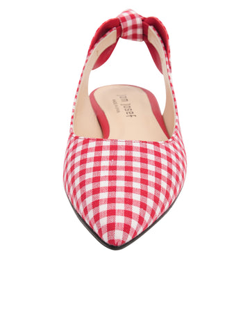 Womens Red White Combo Marni Pointed Toe Gingham Flat 5 Alternate View