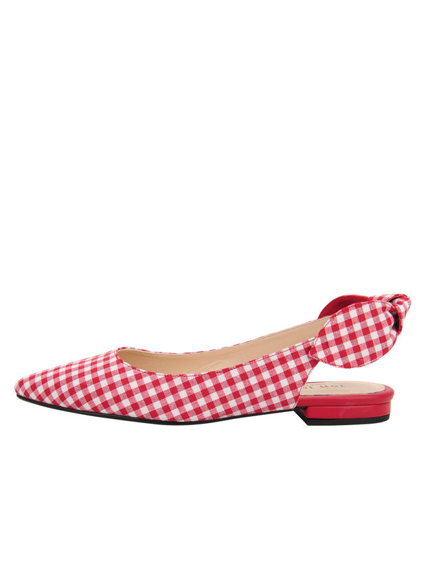 Womens Red White Combo Marni Pointed Toe Gingham Flat 6