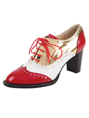 Red/White lace-up oxford with heel
