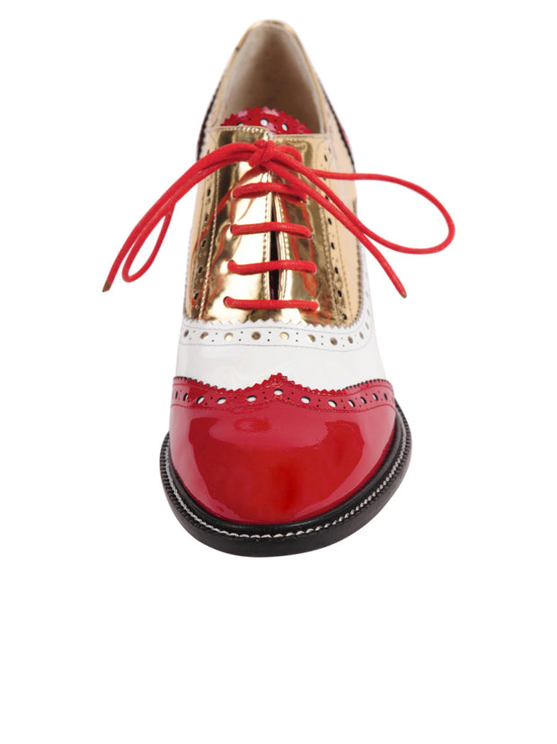 Red/White lace-up oxford with heel 4