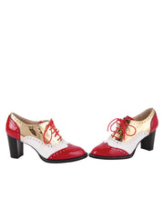 Red/White lace-up oxford with heel 5