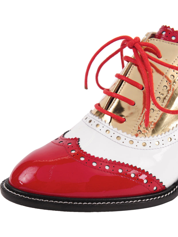 Red/White lace-up oxford with heel 6