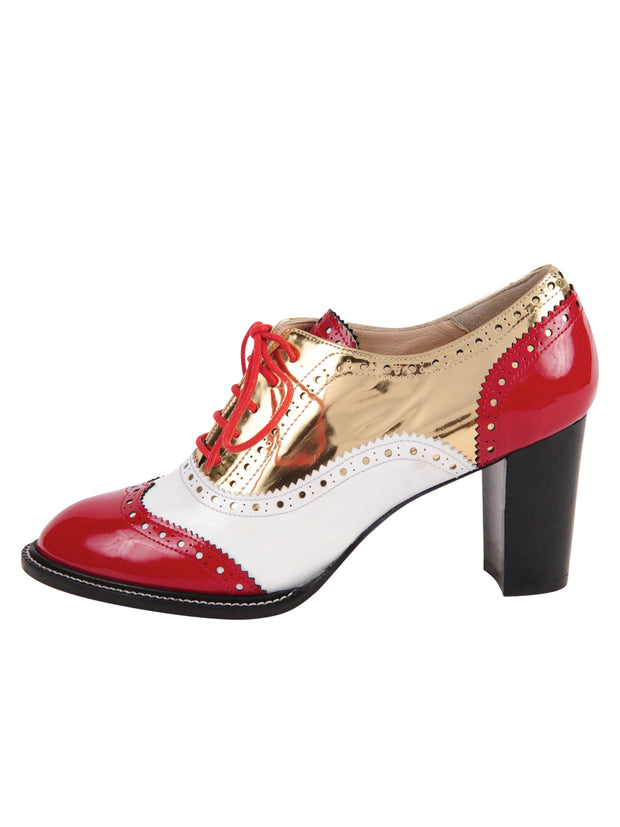 Red/White lace-up oxford with heel 7
