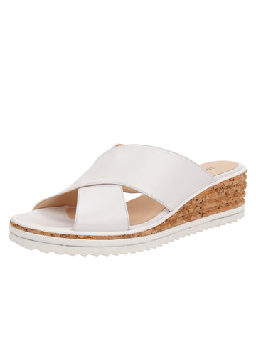 Womens White Leather Combo Faye Wedge Sandal