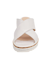 Womens White Leather Combo Faye Wedge Sandal 5