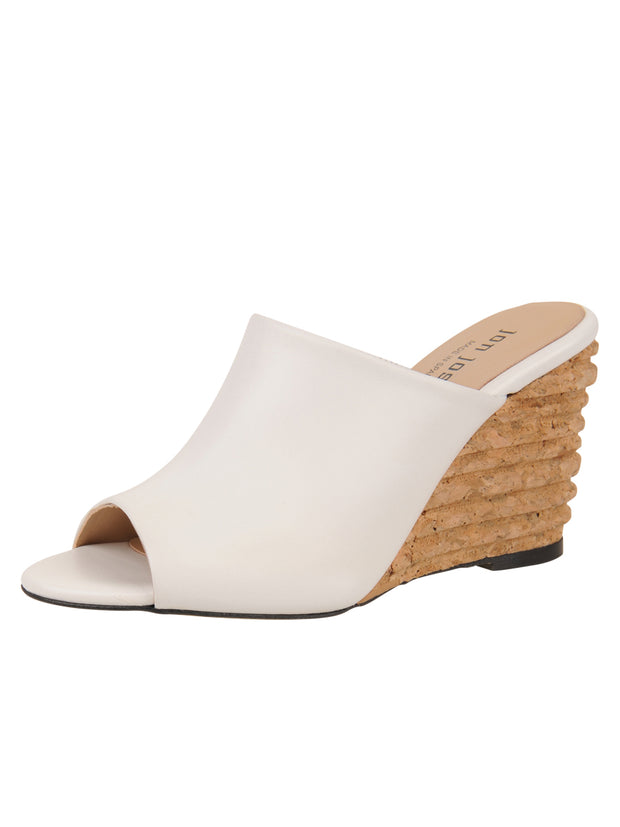 Womens White Leather Combo Style Wedge Sandal