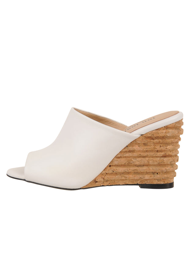 Womens White Leather Combo Style Wedge Sandal 6