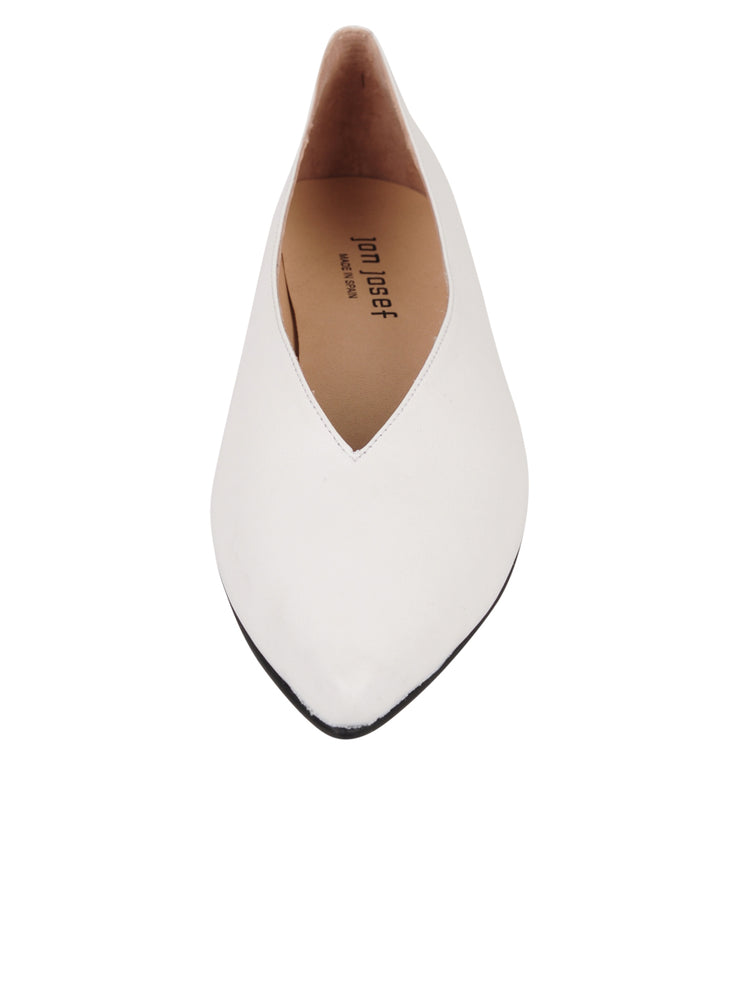 Womens White Leather Pointed Toe Flat 4