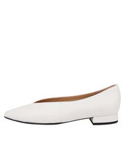 Womens White Leather Pointed Toe Flat 6