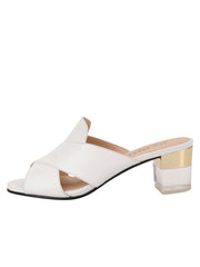 Womens White Leather Danger Sandal 6