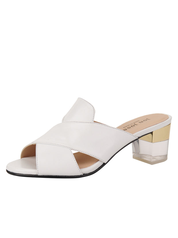 Womens White Leather Danger Sandal