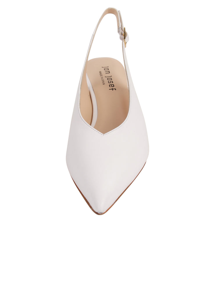 Womens White Leather Slingback Pump 4