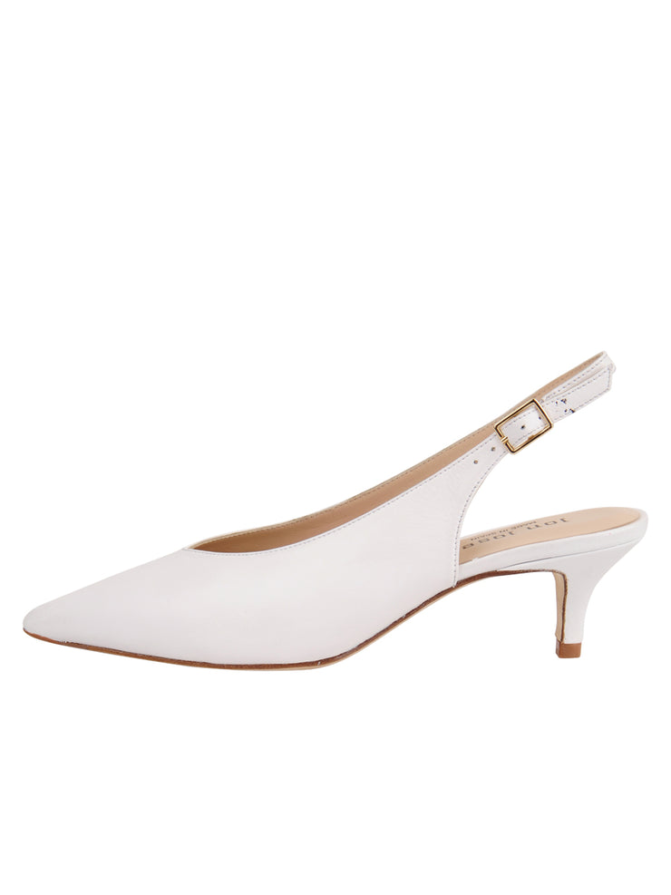 Womens White Leather Slingback Pump 6