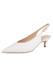 Womens White Leather Slingback Pump