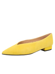 Womens Yellow Suede Pointed Toe Flat