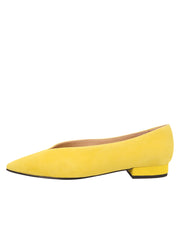 Womens Yellow Suede Pointed Toe Flat 6