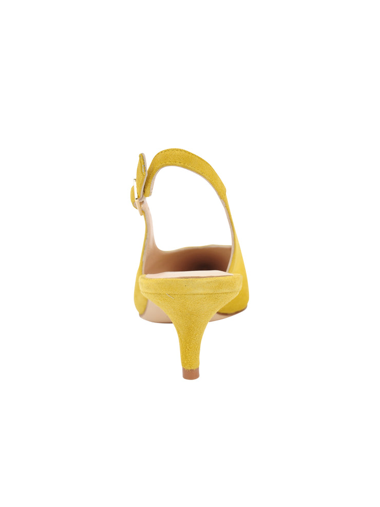 Womens Yellow Suede Slingback Pump 2