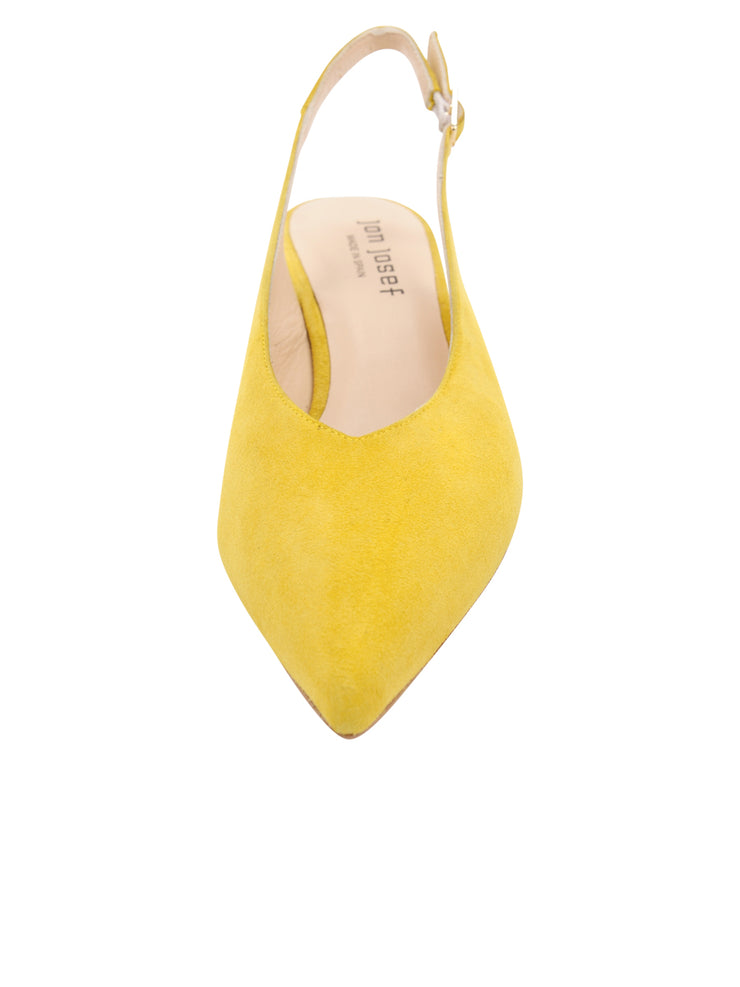 Womens Yellow Suede Slingback Pump 4