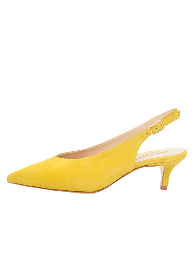 Womens Yellow Suede Slingback Pump 6