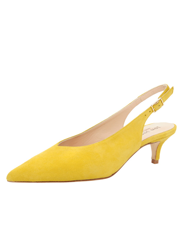 Womens Yellow Suede Slingback Pump